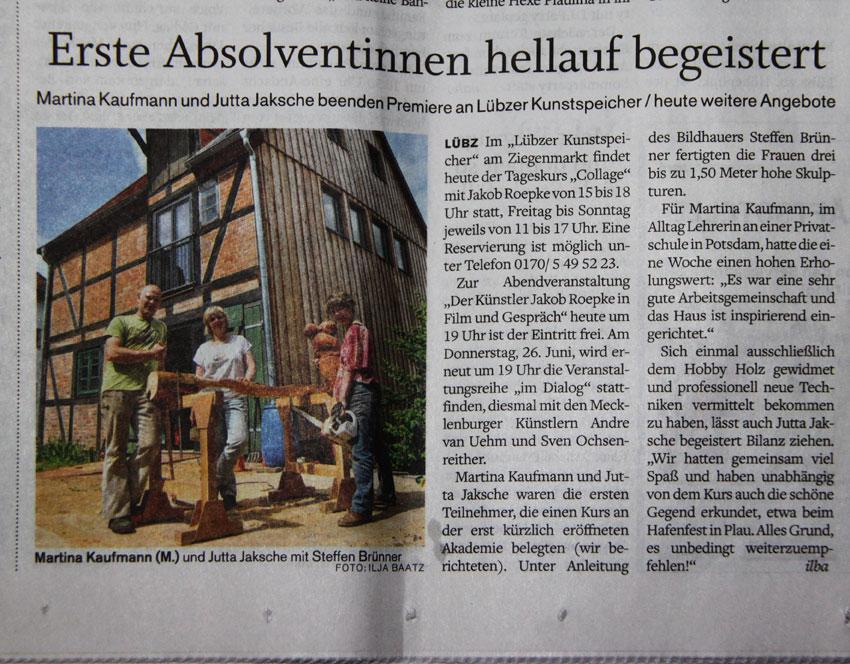 Artikel über den Eröffnungskurs 2014 in der Schweriner Volkszeitung